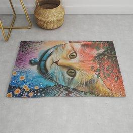 Milo ... Abstract Cat Kitten Art Rug