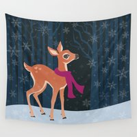 fawn Wall Tapestries featuring Snow Fawn by Laura