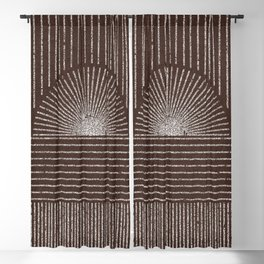 SUNSET STRIPES WHITE ON RUST Blackout Curtain