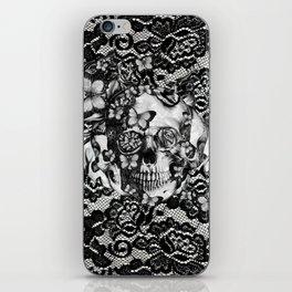 Rose skull on black lace base. iPhone Skin