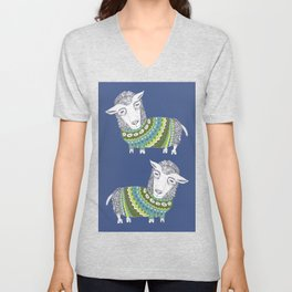 Sheep wearing Fair Isle knitted sweater Unisex V-Neck