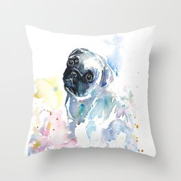 Pug Puppy in Splashy Watercolor Throw Pillow