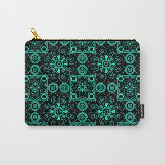 Retro . Black turquoise ornament . Carry-All Pouch