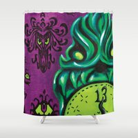 "haunted mansion Shower Curtains featuring Disneyland Haunted Mansion inspired ""Wall-To-Wall Creeps No.3""  by ArtisticAtrocities"