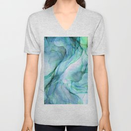Aqua Turquoise Teal Abstract Ink Painting Unisex V-Neck