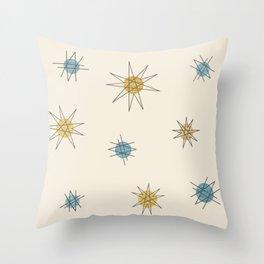 Atomic Age Sputnik Starburst Planets Throw Pillow