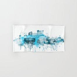 Athens Monochrome Blue Skyline Hand & Bath Towel