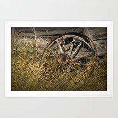 Broken Wheel of a Farm Wagon in the Grass on the Prairie Art Print