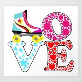 Amor patines Roller Art Print