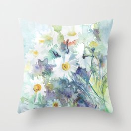 watercolor drawing - white daisies, beautiful bouquet, painting Throw Pillow