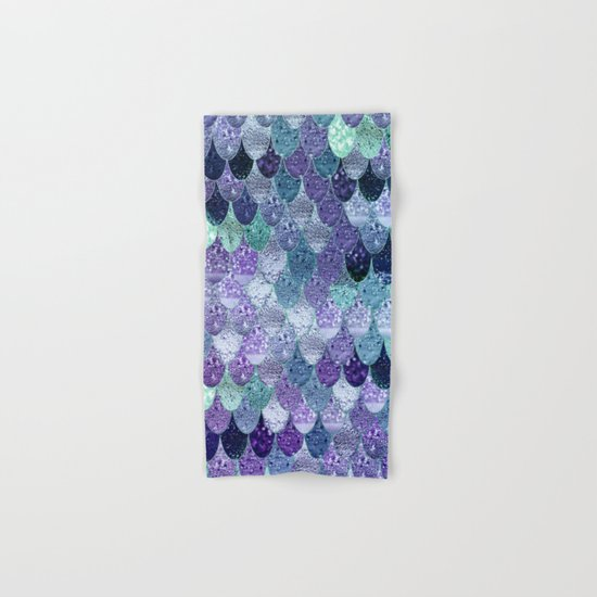 SUMMER MERMAID III Purple & Mint by Monika Strigel Hand & Bath Towel