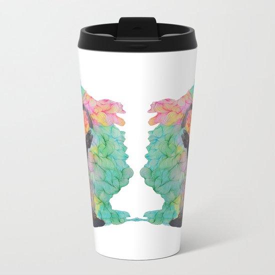 Pink doodle in circle Metal Travel Mug
