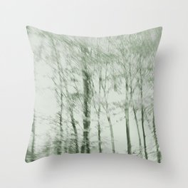 Windy woods (green) Throw Pillow