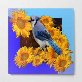 2 BLUES YELLOW SUNFLOWERS BLUE JAY BIRD Metal Print