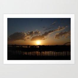 memphis sunset Art Print