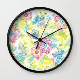 Watercolor spring pattern Wall Clock