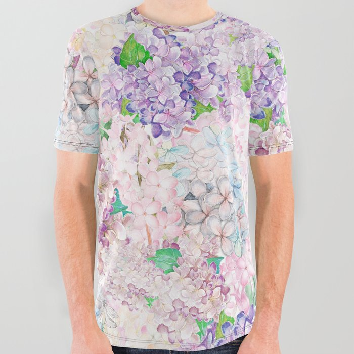 Pastel_Purple_and_blue_Lilac_&_Hydrangea__Flower_Design_All_Over_Graphic_Tee_by_UtArt__Small