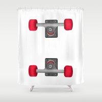 skateboard Shower Curtains featuring Skateboard Trucks by mailboxdisco