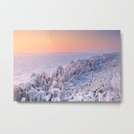 Sunrise over a frozen lake in The Netherlands Metal Print