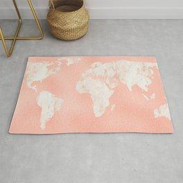 Pink Rose Gold World Map Rug