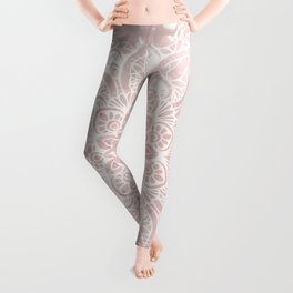 Mandala Yoga Love, Blush Pink Floral Leggings