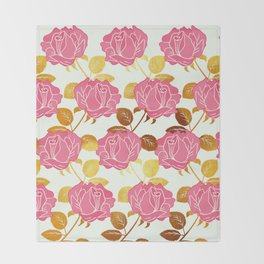 Numble Gold | Pink roses golden flowers pattern Throw Blanket