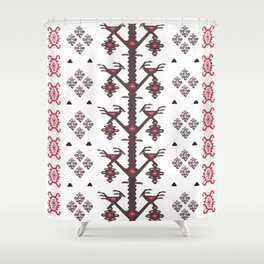 Tribal Ethnic Love Birds Kilim Rug Pattern Shower Curtain