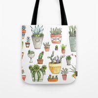 succulents Tote Bags featuring Potted Succulents by Brooke Weeber