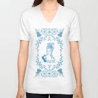 marie antoinette V-neck T-shirts featuring Marie-Antoinette Monogram (Aqua) by Vannina