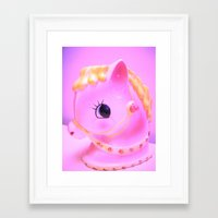 pony Framed Art Prints featuring  pony by lil kitsch shop