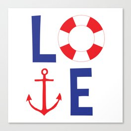 LOVE nautical red, white and blue - Anchor - Life Savor Canvas Print