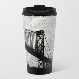 News Feed , Newspaper Bridge Collage, night silhouette cityscape news paper cutout, black and white  Travel Mug