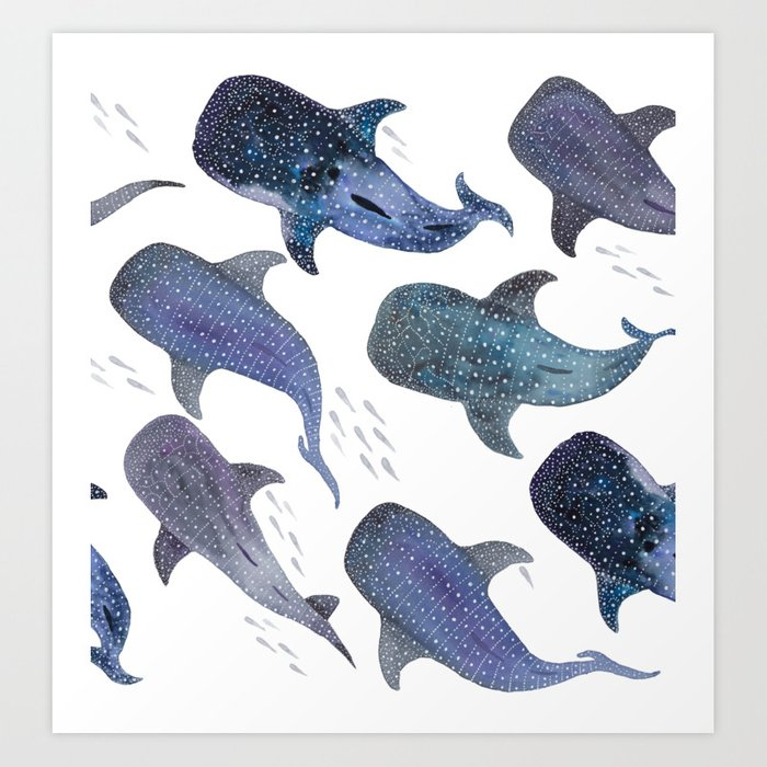 Whale Shark Pattern Party Kunstdrucke