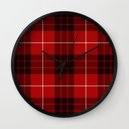 Dark Red Tartan with Black and White Stripes Wall Clock