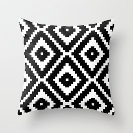 Monochrome Ikat Diamond Pattern Throw Pillow