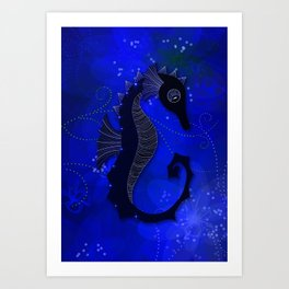 The black Sea Horse Art Print