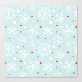 Christmas Snowflakes with Red and Blue Polka Dots Pattern Canvas Print