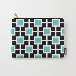 Classic Hollywood Regency Pattern 221 Turquoise and Black Carry-All Pouch