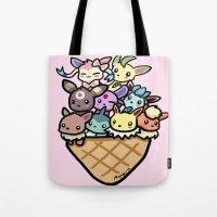 eevee Tote Bags featuring Eevee Ice Cream by Mayying