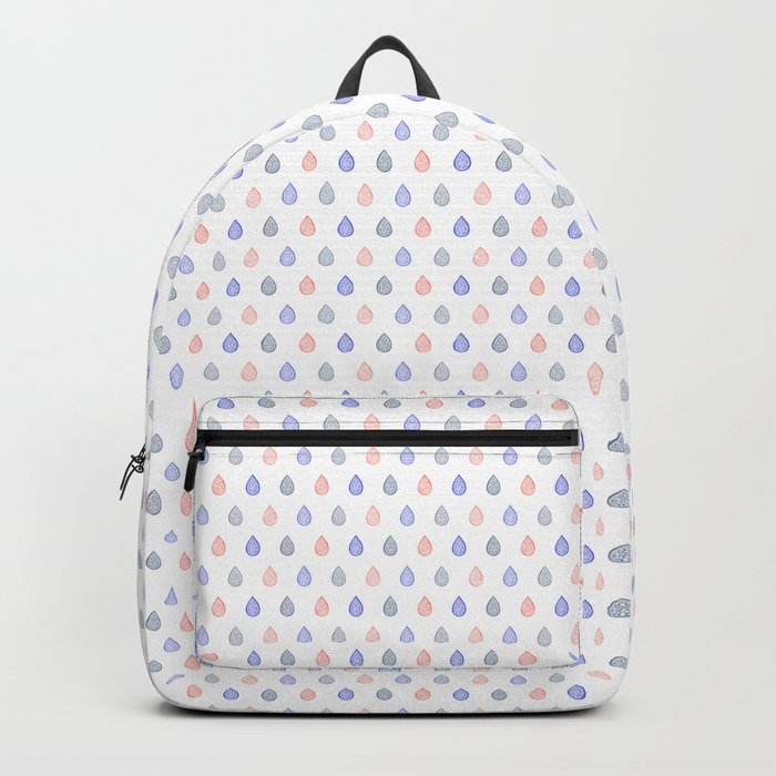 Rose quartz, serenity blue and lilac grey raindrops Backpack
