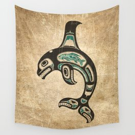 Blue and Black Haida Spirit Killer Whale Wall Tapestry