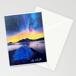 'SHOWTIME!' Original Art Drawing-MilkyWay Galaxy - Tent Camping Art Stationery Cards