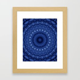 Mandala in deep blue tones Framed Art Print