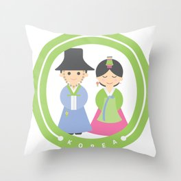 Seoul - Koreans in Traditional Costumes Throw Pillow