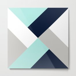 Geometric Criss Cross Navy Aqua Grey Metal Print