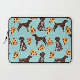 German Shorthair Pointer dog breed pet art pizza slices pattern design by pet friendly dog lovers Laptop Sleeve