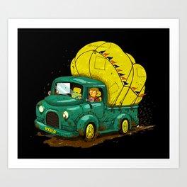 trucks and luggage Art Print