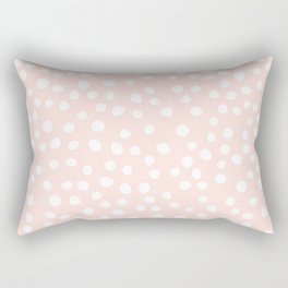 Pink and white doodle dots Rectangular Pillow