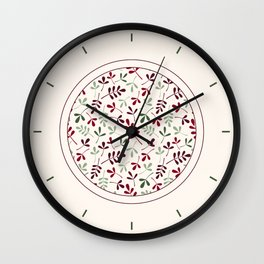 Assorted Leaf Silhouettes Ptn Reds Greens Cream Wall Clock