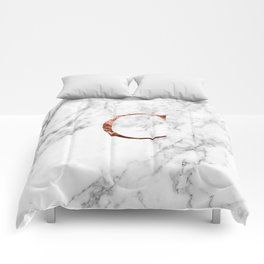 Monogram rose gold marble C Comforters